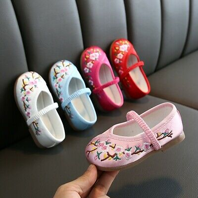 Toddler Infant Kids Baby Girls Embroidery Floral Flower Single Princess Shoes