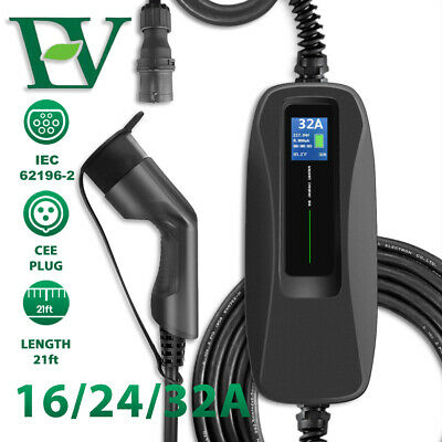 Electric Car EV Charging Cable Type2 Switchable LCD Screen 16/24/32A CEE Charger