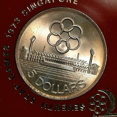 Singapore Five Dollars $5 1973 SEAP Games SILVER 25g Cased KM#10 (BD)