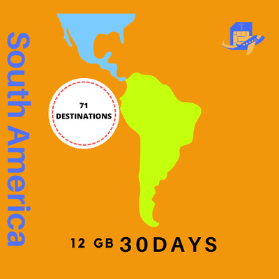 South America Travel Sim Card | 30 Days | 12GB Unlimited Calls & Text 71 Country