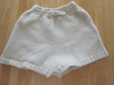 Baby Diaper Cover Woolies Soaker Wool Hand Knit White Ex Lg Felted Lanolized New