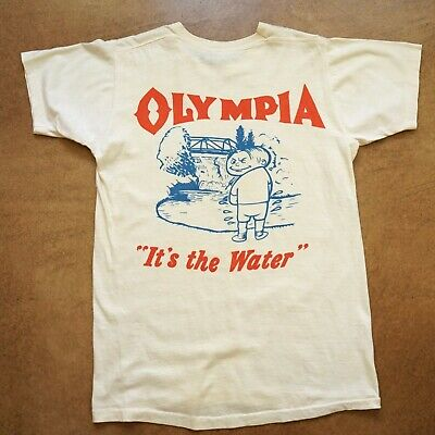 """Vintage 1960's OLYMPIA BEER """"It's The Water"""" Tumwater Brewing t-shirt M"""