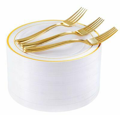 "72 Pieces Gold Dessert Plates 7.5"" with 72 Pieces Gold Plastic Forks 7.4"""