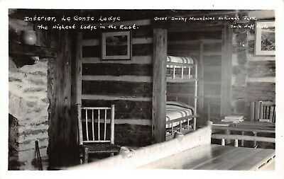 LP39  Great Smoky Mountains National Park RPPC Le Conte Lodge Interior Huff Foto