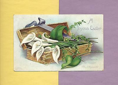 Box of Long-Stem LILIES On Colorful A/S CLAPSADDLE Vintage 1911 EASTER Postcard
