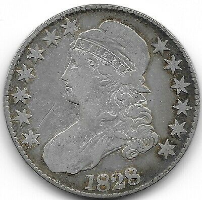 1828 Square Base 2, Large 8'S Capped Bust Half Dollar