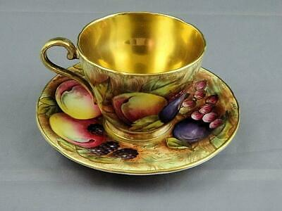 Rare Vintage Aynsley C746 Orchard Fruit Gold Demitasse Cup and Saucer