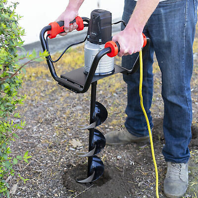"1500W Electric Post Hole Digger with 6"" inch Digging Auger Drill Bit Black"