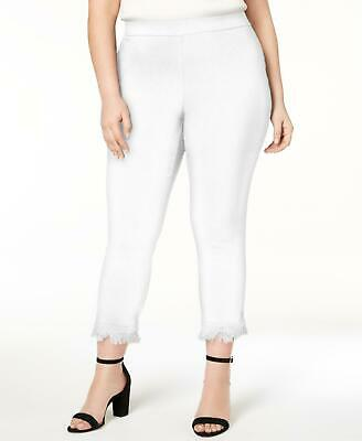 Style & Co. 9310 Plus Size 18W NEW White Solid Ankle Pants Fringed-Trim $56