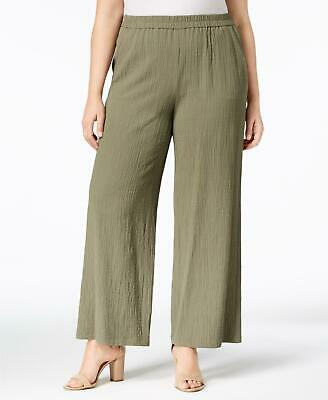 JM Collection 8224 Plus Size 3X NEW Green Textured Wide Leg Pants 2 Pockets $59