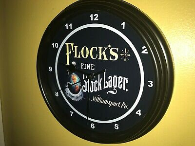 Flock's Lager Pennsylvania Beer Bar Man Cave Advertising Black Wall Clock Sign