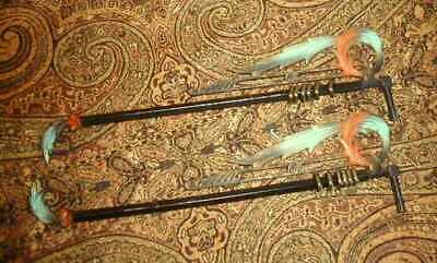Pair 2 Antique Art Deco Swing Arm Curtain Rods Feather Design VG Paint w Rings