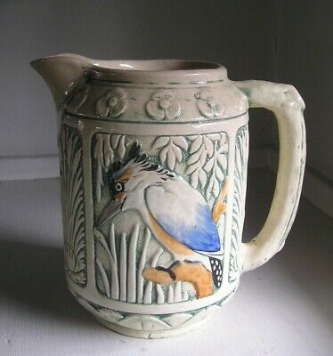 """C.1920 Weller Zona Pottery Kingfisher & Cattails Large 8"""" Pitcher Arts & Crafts"""
