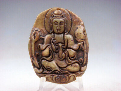 Old Nephrite Jade Hand Carved *Kwan-Yin Buddha Water Bottle* Pendant #07111911