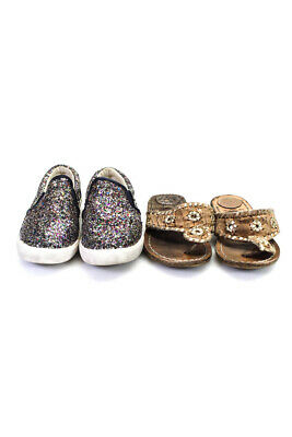 Crewcuts Girls Shoes Multi Color Brown Gold Size 10 Lot 2