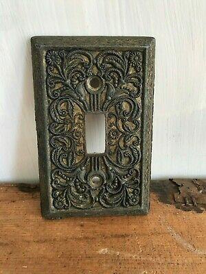 Vintage Antique Decorative Ornate Floral Scroll Brass Light Switch Plate Cover
