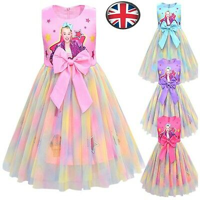 UK Kids Girls Tutu Princess Dresses jojo siwa Children Lace Dress Party Clothing