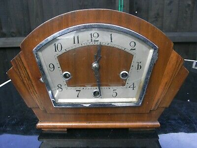 Edwardian Mahogany Mantle Clock / Westminster Chimes