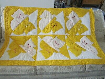 gorgeous handmade yellow kittens baby crib quilt