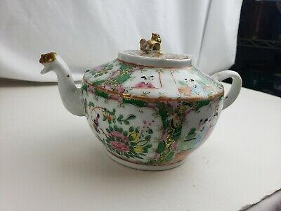 Old chinese famille rose teapot, minor issues
