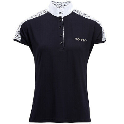 QHP EQUESTRIAN LADIES COMPETITION SHIRT TOP DEWI BLACK SIZE 14 NEW WITH TAGS