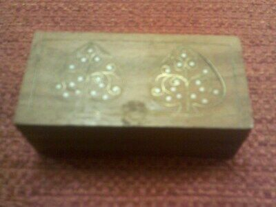 Small Carved Wood Box, Mother Of Pearl
