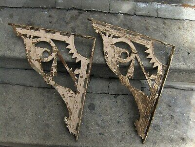 "Vtg Architectural Big Cast Iron Ornate Shelf Brackets Eastlake 17"" x 15"" Sunrise"