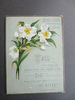 Victorian EASTER Card Scripture Religious Verse Ridley Havergal Christ is Risen