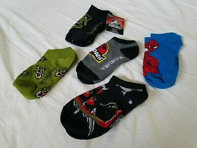 Boys 5 Pair No Show Jurassic And Spiderman Socks Size M/Shoe 9-2 1/2 ~ NEW