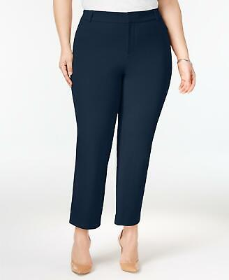 Charter Club 2708 Plus Size 20W Womens NEW Blue Solid Ankle Pants Slim-Leg $79