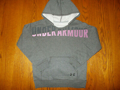 Under Armour Cold Gear Gray Hooded Sweatshirt Girls Large Excellent Condition
