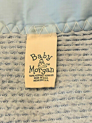 Vintage Baby Morgan BLUE Acrylic Nylon Trim Thermal Fleece Waffle Crib Blanket