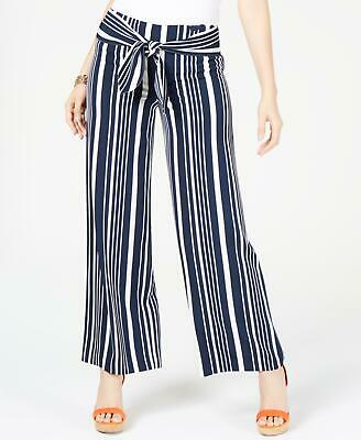 INC 2231 Size 10 Womens NEW Navy Blue Striped Wide Leg Pants Tie-Front $79