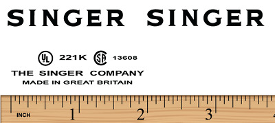 Singer Featherweight 221K Sewing Machine Restoration Decals Black Ink