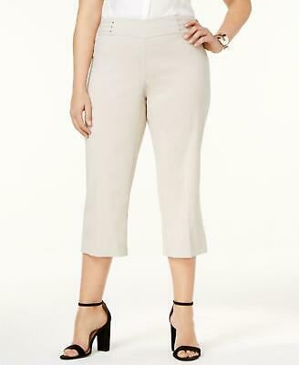 JM Collection 0457 Plus Size 2X NEW Beige Solid Capris Cropped Pants Studded $59