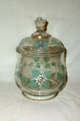 ANTIQUE APOTHECARY JAR HAND PAINTED FLORAL VICTORIAN CANDY JAR EARLY 1900's