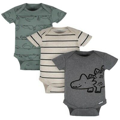 3 Pack Gerber Organic Cotton Preemie Baby Boy Short Sleeve Onesies Clothes New