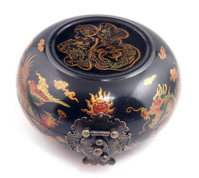 Wooden Crafted Black Glazed Round Jewelry Box Dragon Phoenix Blessing #09221901