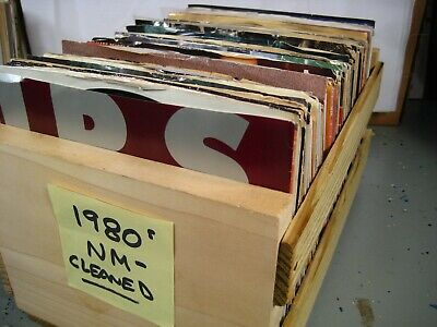 45 rpm vinyl records Top 40 1980s HITS you select CLEANED & PLAYS NM-