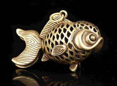 China Old Collectible Hand Engraving Brass Fish Movable Statue