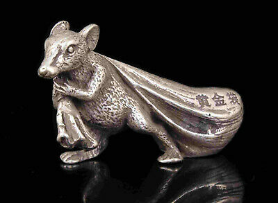 China Old Collectible Hand Engraving Tibetan Silver Money Drawing Mouse Statue