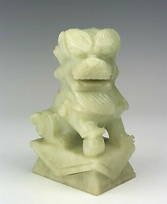 Chinese Export Green Hand Carved Celadon Jade Foo Lion Dog Stone Sculpture SMS