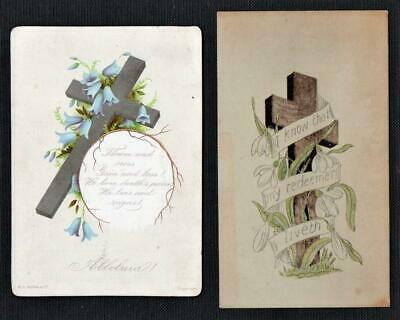 2 Victorian RELIGIOUS THEMED Christmas Easter Greeting Cards