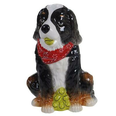Dog Park Ceramic Treat Jar St Bernard Bernese Mountain Certified Intl 28263