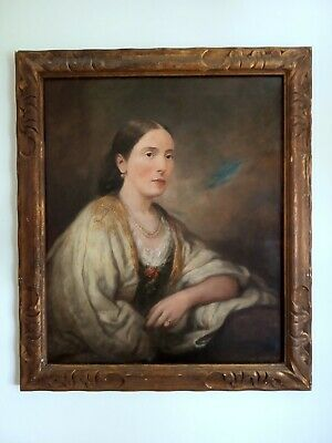 A 19th C Mid Victorian Large Portrait Oil Painting of a Lady Framed Signed