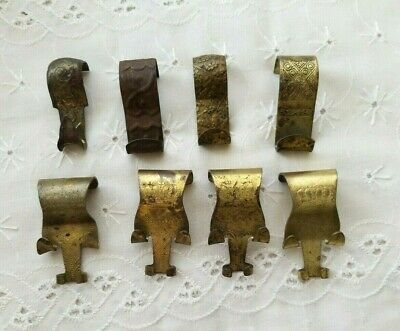 8 Antique Vintage Victorian Brass Picture Rail Hangers Hanging Moulding Hooks
