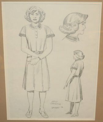 Miss Tatlock Pencil Character Designs - Matted - art by Jack Kirby