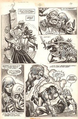 Savage Sword of Conan #69 p.43 - Action vs Lion & Cyclops - 1981 by Ernie Chan
