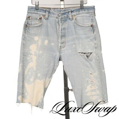 Vintage Levis Levi Strauss 501 Distressed Bleached Cutoff Jeans Shorts 30 NR