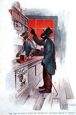 Brewer Cream of Wheat Ad 1914 NO SAH! DON'T WANT SUBSTITUTE Matted Print Ad